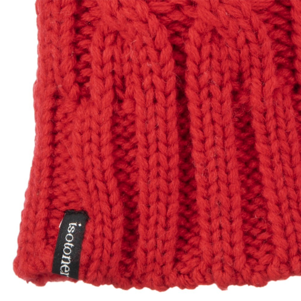 Women's Chunky Cable Knit Mittens in Really Red