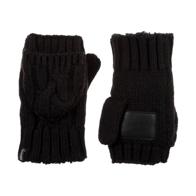 Women's Chunky Cable Knit Flip-Top Mittens in Black Front and Back