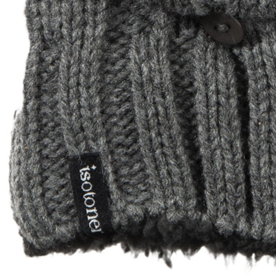 Women's Chunky Cable Knit Flip-Top Mittens in Dark Charcoal Heather Cuff Detail