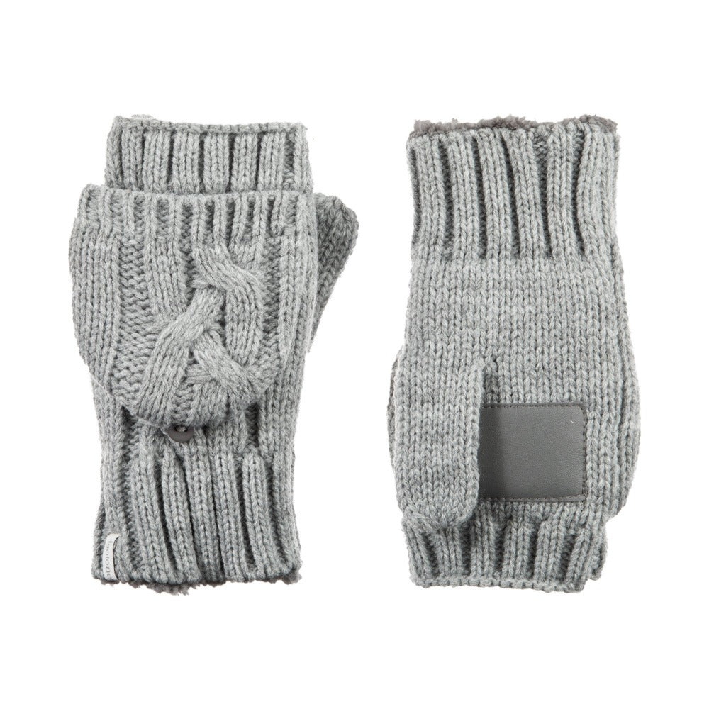 Women's Chunky Cable Knit Flip-Top Mittens in Heather (Grey) Front and Back