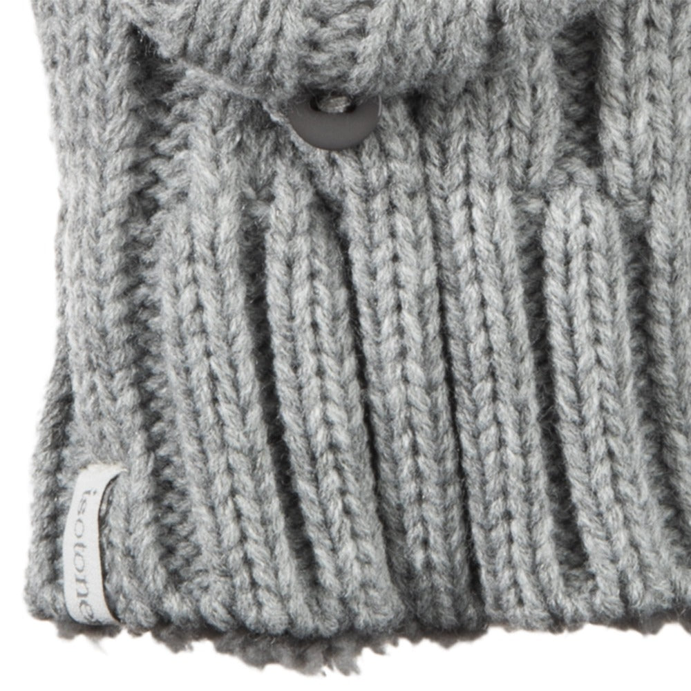 Women's Chunky Cable Knit Flip-Top Mittens in Heather (Grey) Cuff Detail