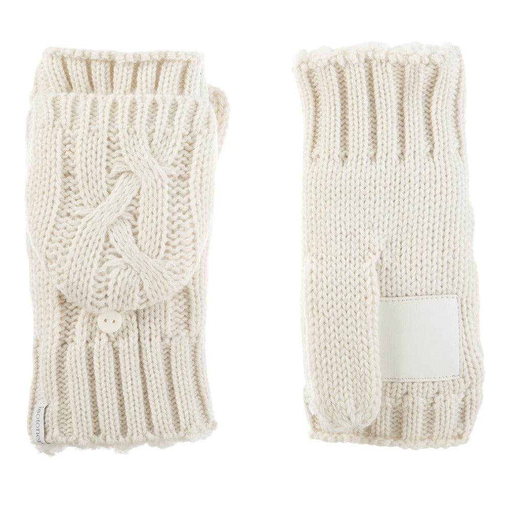Women's Chunky Cable Knit Flip-Top Mittens in Ivory Front and Back