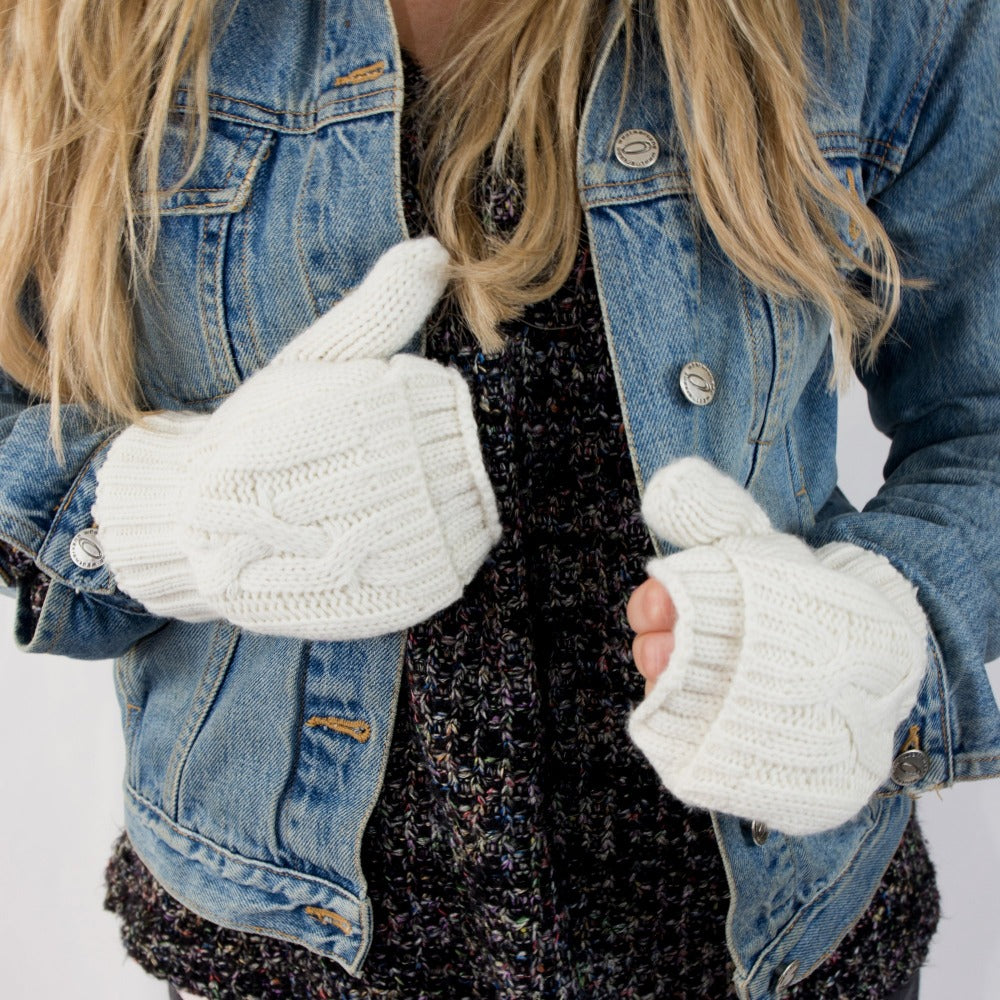 Women's Chunky Cable Knit Flip-Top Mittens in Ivory on Model