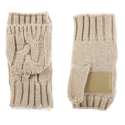 Women's Chunky Cable Knit Flip-Top Mittens in Oatmeal Heathered Front and Back