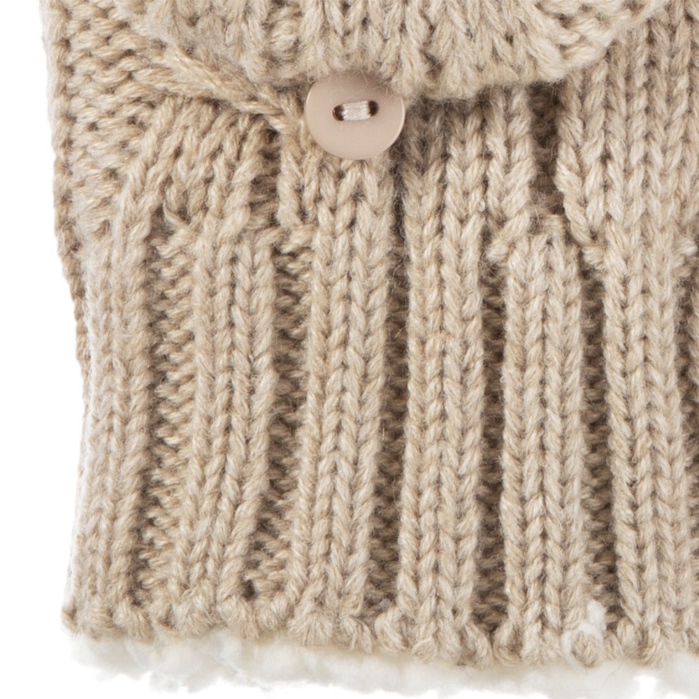 Women's Chunky Cable Knit Flip-Top Mittens in Oatmeal Heathered Cuff Detail