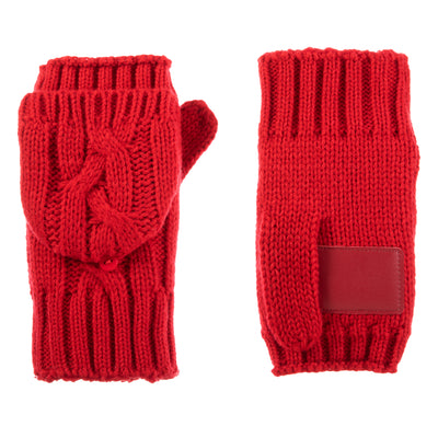 Women's Chunky Cable Knit Flip-Top Mittens in Really Red Front and Back