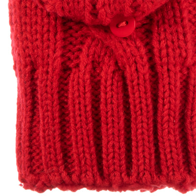 Women's Chunky Cable Knit Flip-Top Mittens in Really Red Cuff Detail