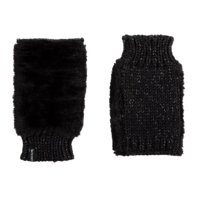 Women's Chenille Knit Fingerless Glove Cozies in Black Front and Back