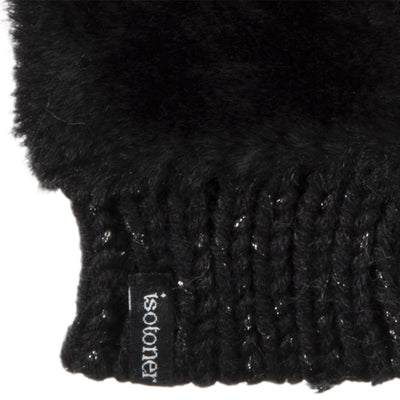 Women's Chenille Knit Fingerless Glove Cozies in Black Cuff Detail