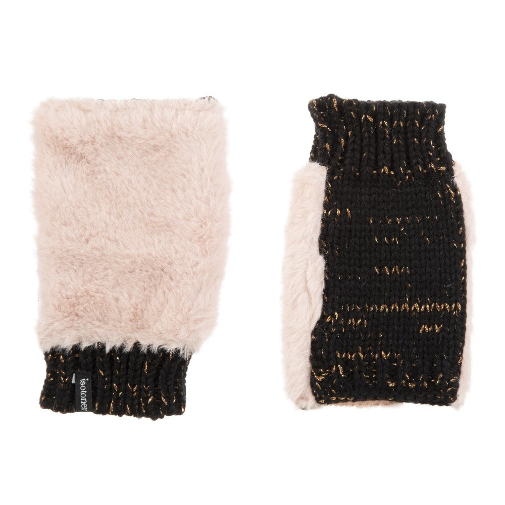 Women's Chenille Knit Fingerless Glove Cozies in Dusted Blush Front and Back
