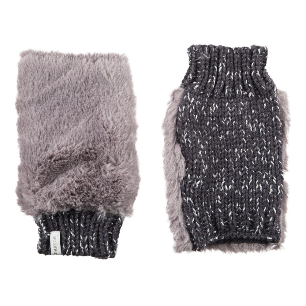 Women's Chenille Knit Fingerless Glove Cozies in Dusty Lavender Front and Back