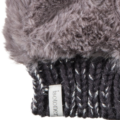 Women's Chenille Knit Fingerless Glove Cozies in Dusty Lavender Cuff Detail