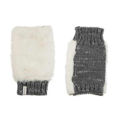 Women's Chenille Knit Fingerless Glove Cozies in Ivory Front and Back