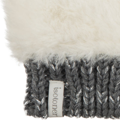 Women's Chenille Knit Fingerless Glove Cozies in Ivory Cuff Detail