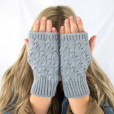 Women's Acrylic Fingerless Glove Cozies  Heather (Grey) on Model