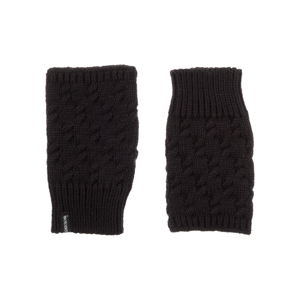 Women's Acrylic Fingerless Glove Cozies in Black Front and Back