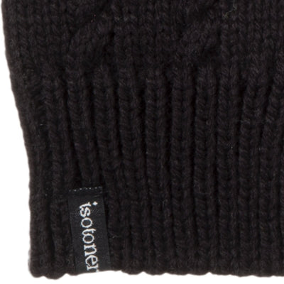 Women's Acrylic Fingerless Glove Cozies in Black Cuff Details