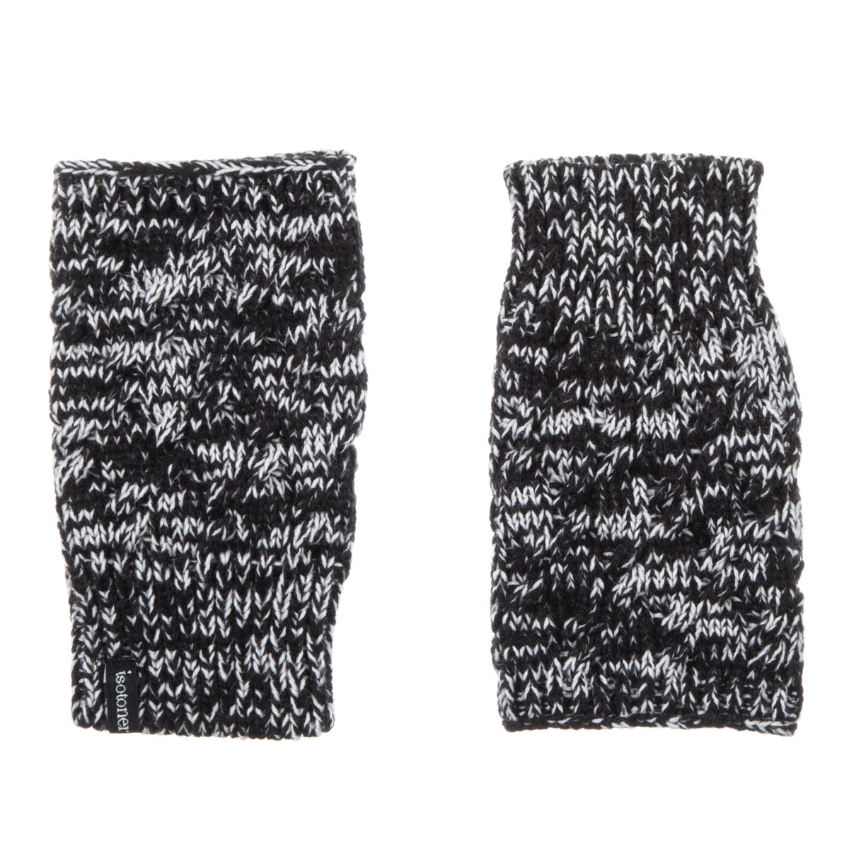 Women's Acrylic Fingerless Glove Cozies in Black Stripe Front and Back