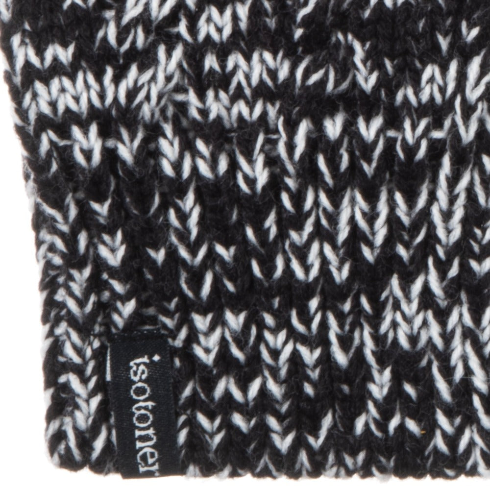 Women's Acrylic Fingerless Glove Cozies in Black Stripe Cuff Detail