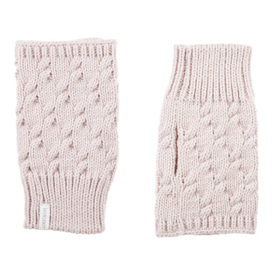 Women's Acrylic Fingerless Glove Cozies in Dusted Blush Front and Back