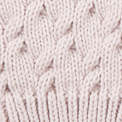 Women's Acrylic Fingerless Glove Cozies in Dusted Blush Cuff Detail