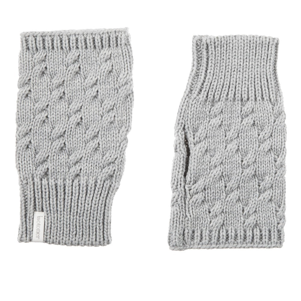 Women's Acrylic Fingerless Glove Cozies  Heather (Grey) Front and Back
