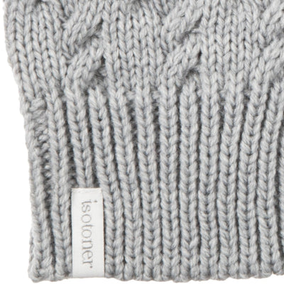 Women's Acrylic Fingerless Glove Cozies  Heather (Grey) Cuff Details