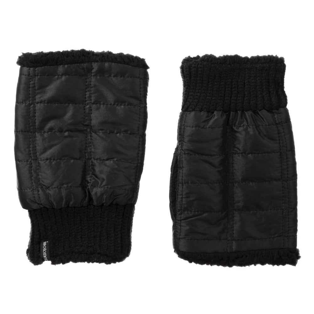 Women's Quilted Fingerless Glove Cozies in Black Front and Back