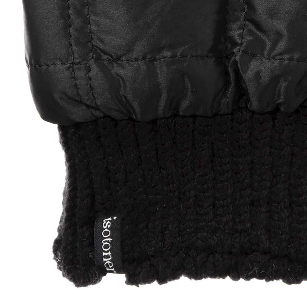 Women's Quilted Fingerless Glove Cozies in Black Cuff Detail