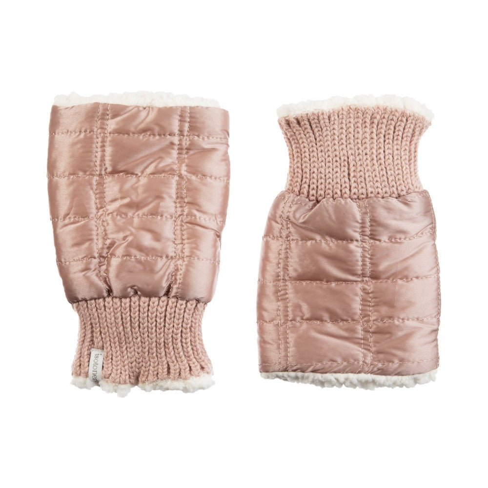 Women's Quilted Fingerless Glove Cozies in Dusted Blush Front and Back