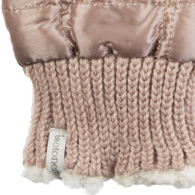 Women's Quilted Fingerless Glove Cozies in Dusted Blush Cuff Detail