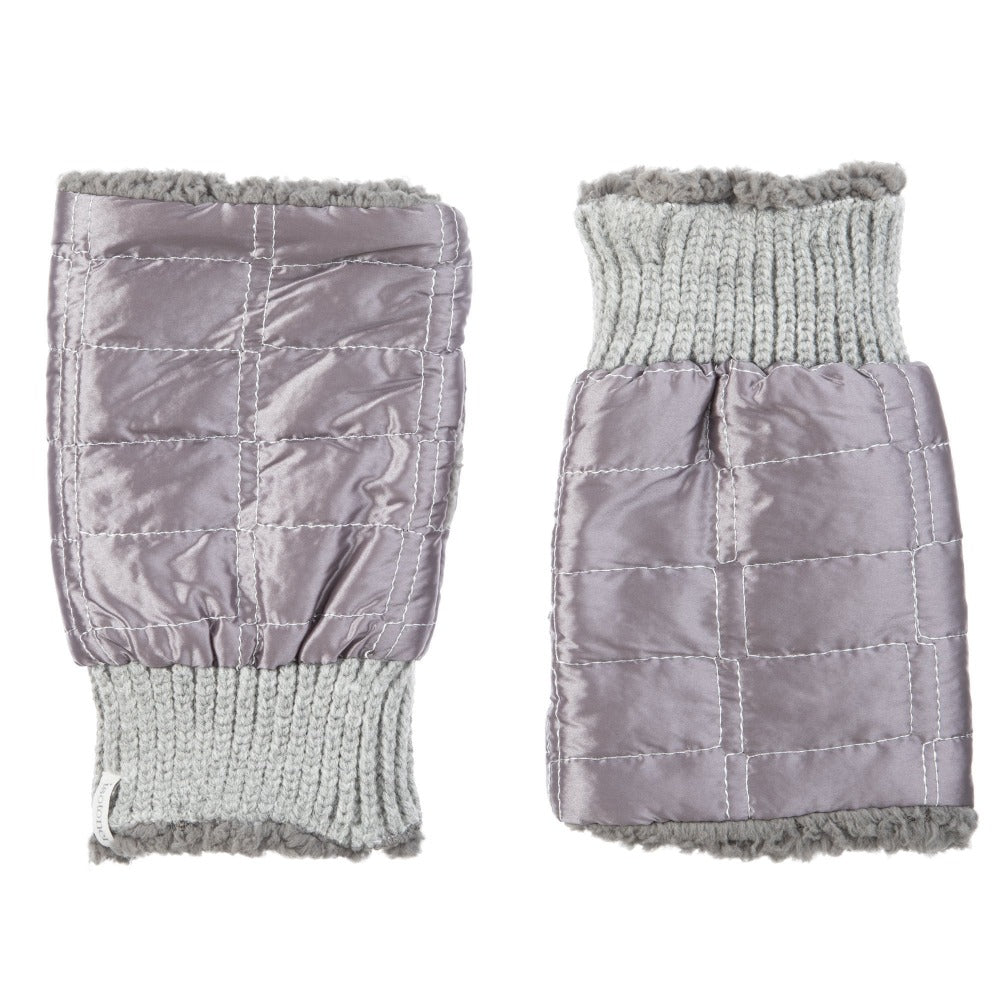 Women's Quilted Fingerless Glove Cozies in Dusty Lavender Front and Back