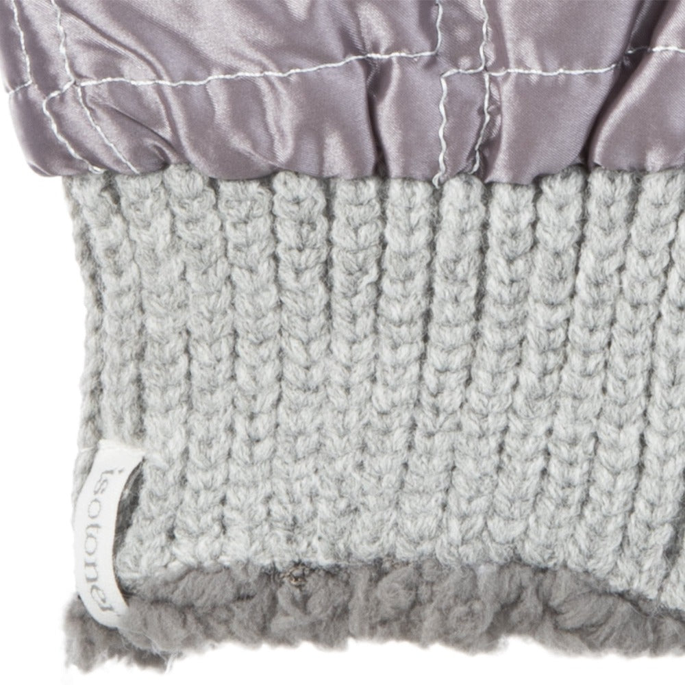 Women's Quilted Fingerless Glove Cozies in Dusty Lavender Cuff Details