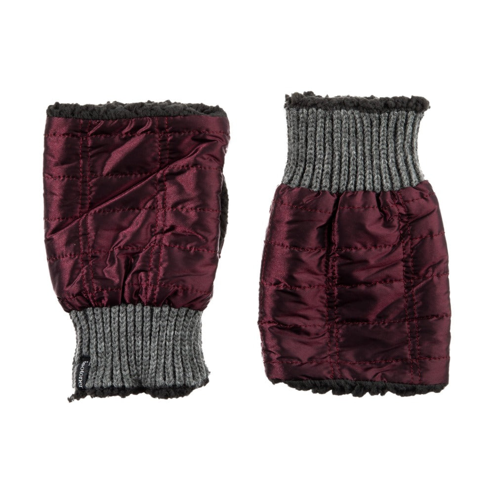 Women's Quilted Fingerless Glove Cozies in Plum Front and Back