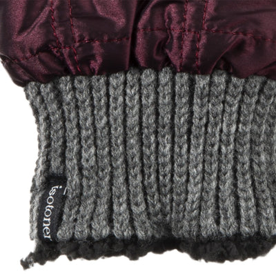 Women's Quilted Fingerless Glove Cozies in Plum Cuff Details