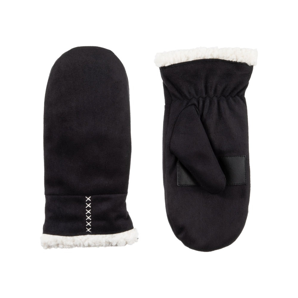 Women's Microfiber Touchscreen Mittens in Black Front and Back