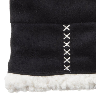 Women's Microfiber Touchscreen Mittens in Black Cuff Details