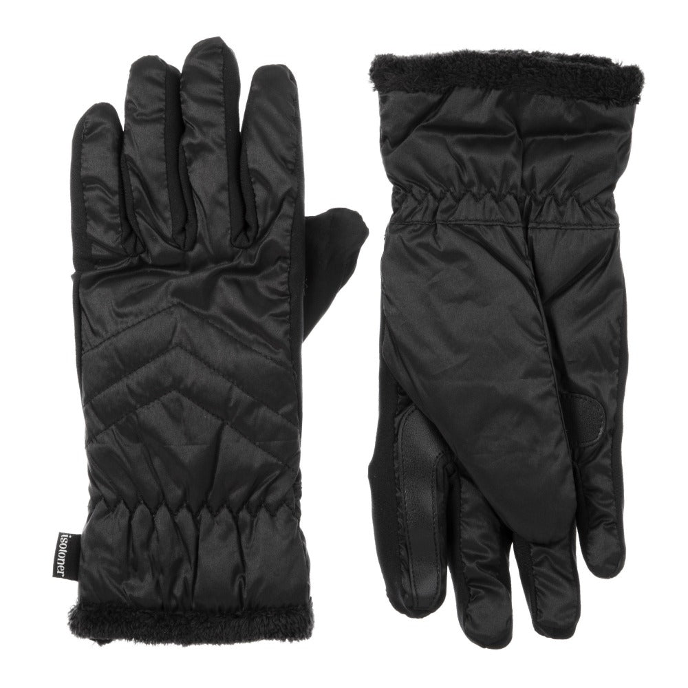 Women's Quilted Gloves with Double Lining in Black Front and Back