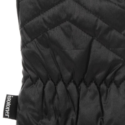 Women's SleekHeat™ Quilted Gloves pair in Black close up on gathered wrist