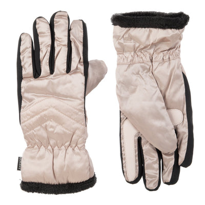 Women's Quilted Gloves with Double Lining in Dusted Blush Front and Back