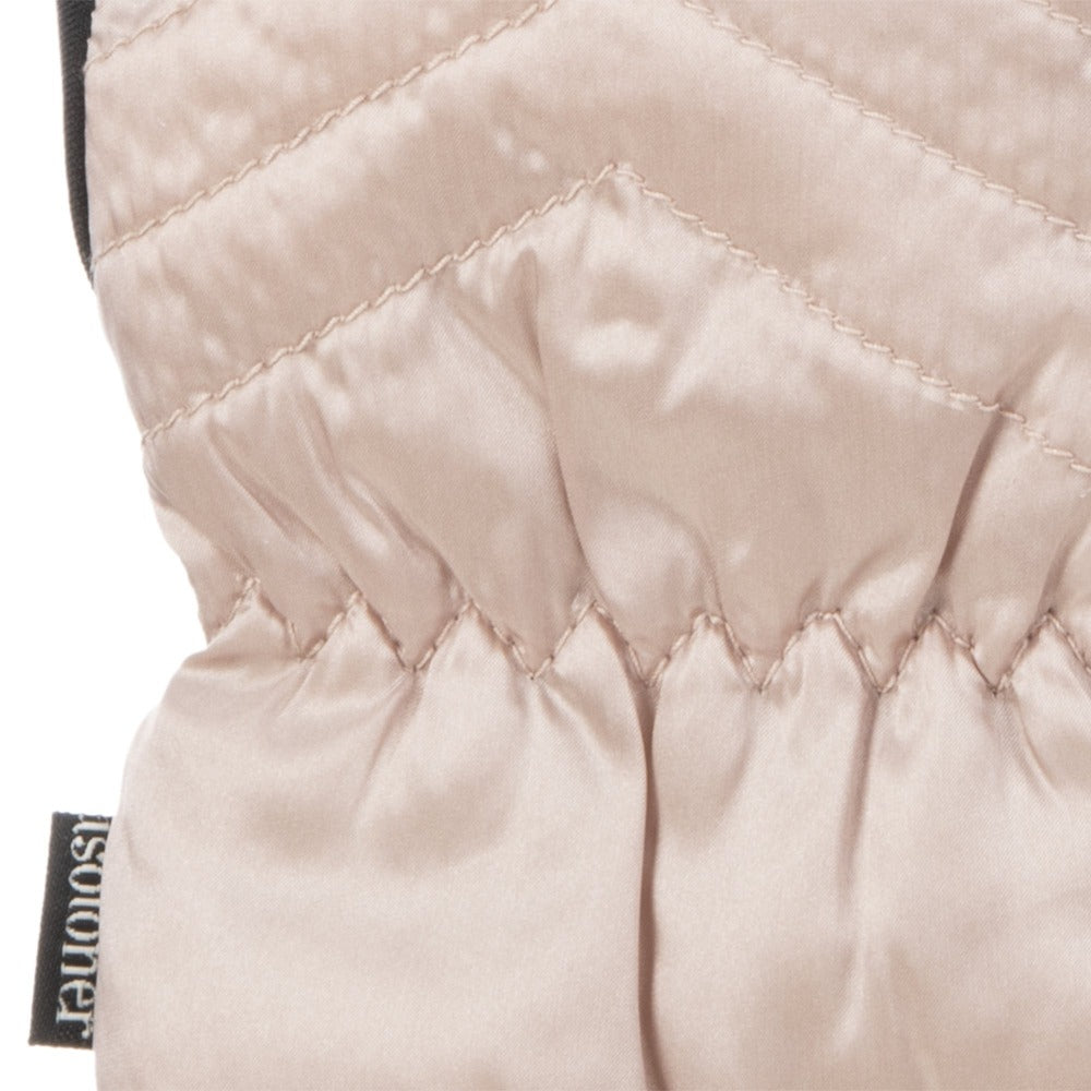 Women's Quilted Gloves with Double Lining in Dusted Blush Cuff Details