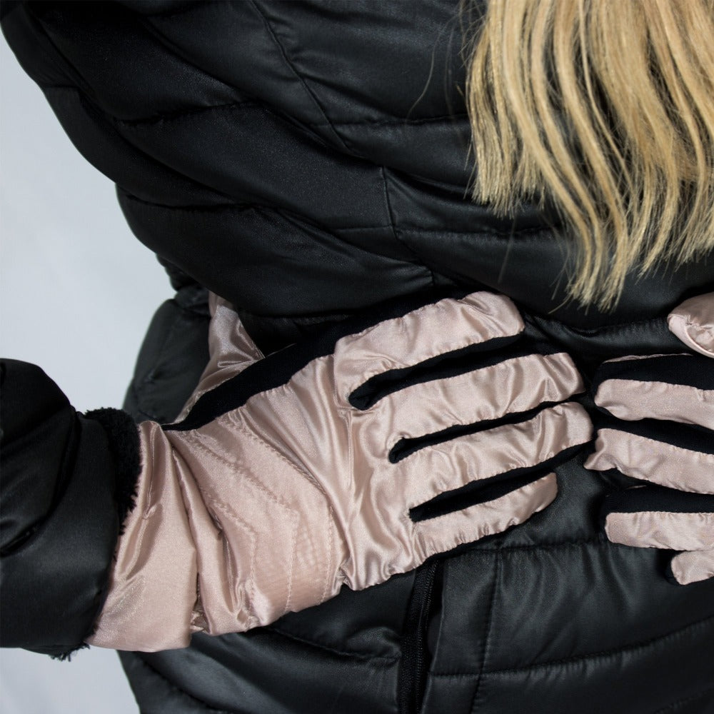 Women's Quilted Gloves with Double Lining in Dusted Blush on Model
