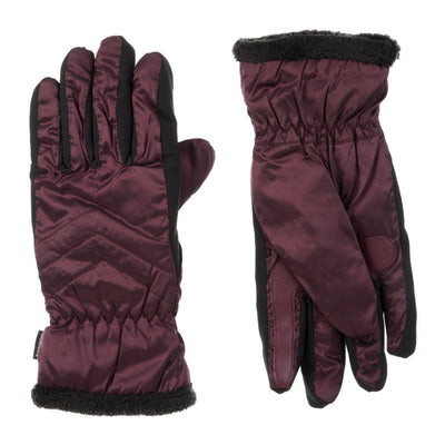 Women's Quilted Gloves with Double Lining Plum Front and Back