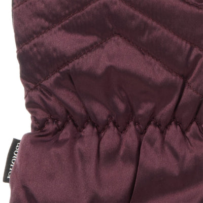 Women's Quilted Gloves with Double Lining Plum Cuff Detail