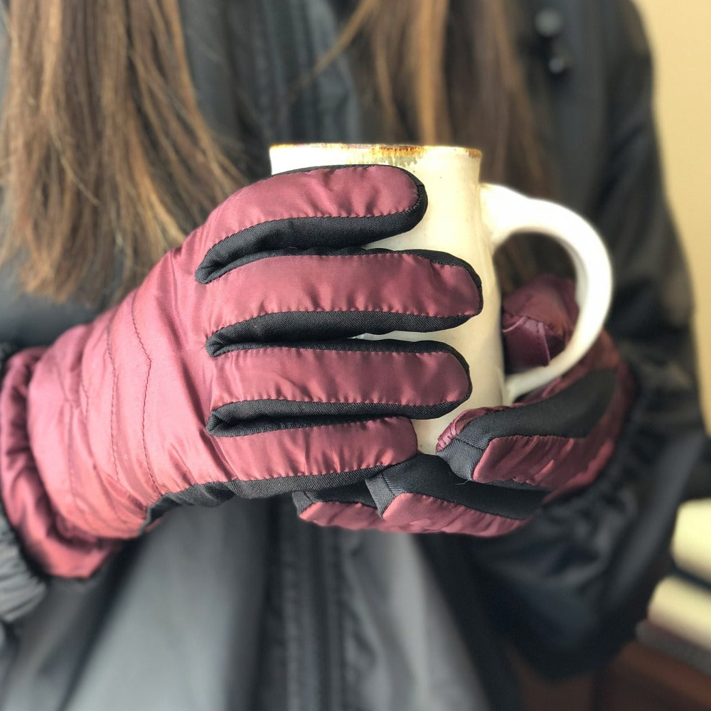 Women's Quilted Gloves with Double Lining Plum on Model