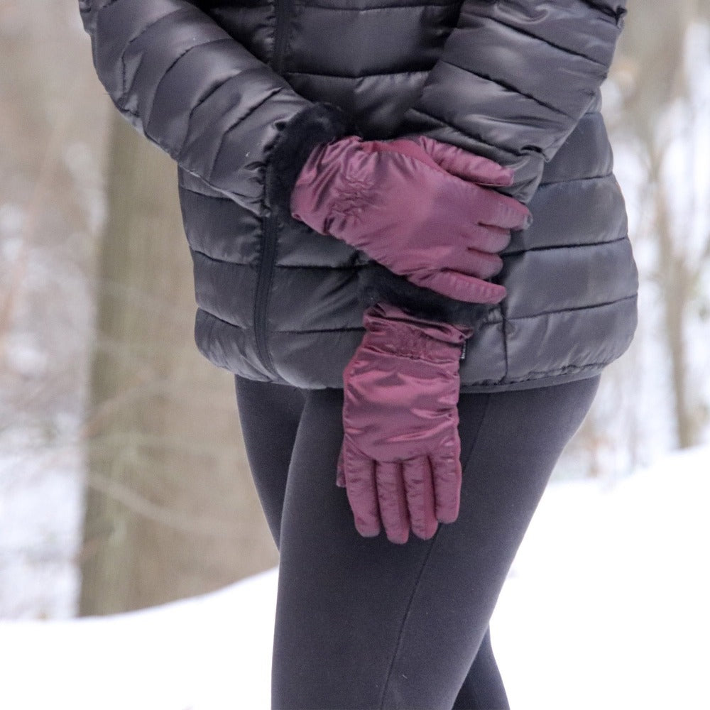 Women's Quilted Gloves with Faux Fur Cuff in Plum on Model