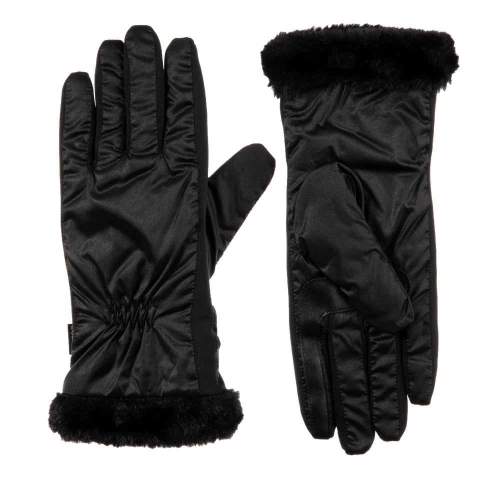 Women's Quilted Gloves with Faux Fur Cuff in Black Front and Back