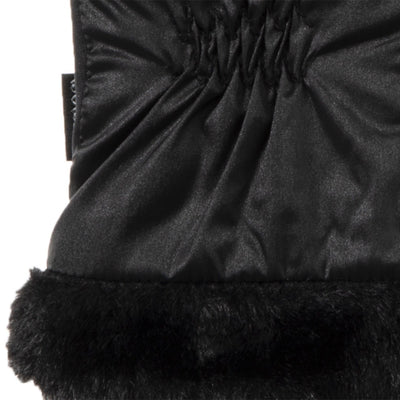Women's Quilted Gloves with Faux Fur Cuff in Black Cuff Detail
