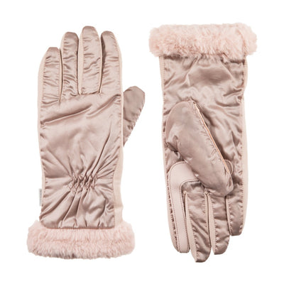 Women's Quilted Gloves with Faux Fur Cuff in Dusted Blush Front and Back