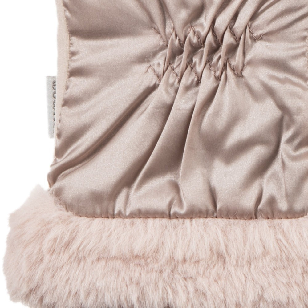 Women's Quilted Gloves with Faux Fur Cuff in Dusted Blush Cuff Detail